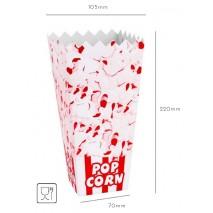 100 szt. KARTONIK/KUBEK na Popcorn DUŻY 70x220x105 mm (kolory)