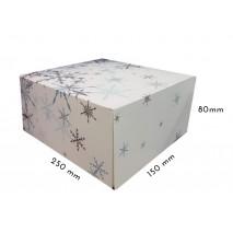 1 szt Pudełko Świąteczne NIEBIESKIE ŚNIEŻYNKI 250/150/80 mm LIV