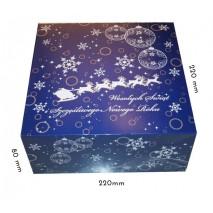 1 szt Pudełko Świąteczne GRANATOWE RENIFERY 220/220/90 mm LIV