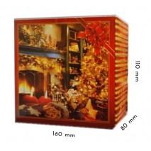 1 szt Pudełko Świąteczne CZERWONE Kominek 160/110/80 mm LIV