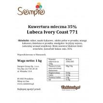 1kg Czekolada MLECZNA Ivory Coast 35% 771 Lubeca