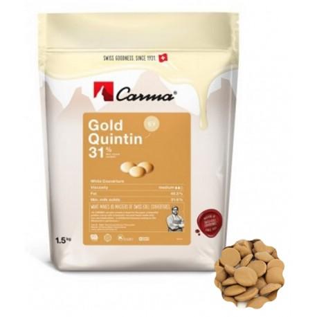 1,5 kg Czekolada BIAŁA Karmelowa GOLD QUINTIN 31% CHW-R118GOLDE6-Z71 Carma