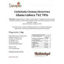1kg Czekolada CIEMNA/DESEROWA Ghana 70% 742 Lubeca