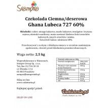 2,5kg Czekolada CIEMNA/DESEROWA Ghana 60% 727 Lubeca