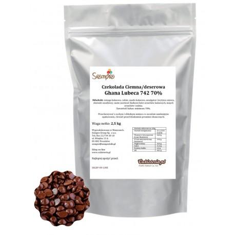 2,5kg Czekolada CIEMNA/DESEROWA Ghana 70% 742 Lubeca