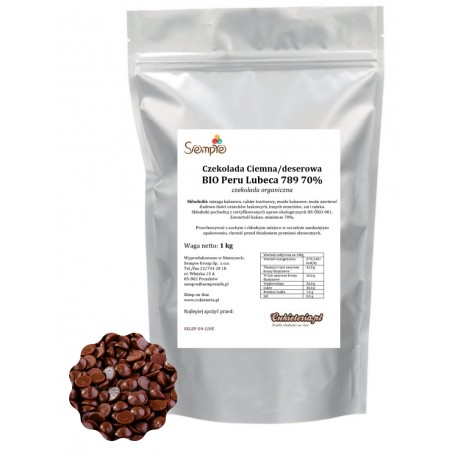 1kg Czekolada CIEMNA/DESEROWA Organiczna BIO PERU 70% 789 Lubeca