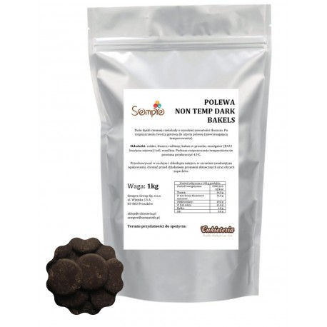 1kg NON TEMP DARK Surogat czekoladowy/polewa czekoladowa CIEMNA Bakels
