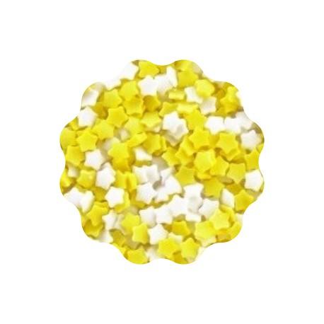 30g GWIAZDKI BIAŁE I ŻÓŁTE konfetti cukrowe 5 mm Sweet Decor