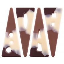 132 szt. Ażurki TRÓJKĄTY ALPY czekoladowe marmurkowe 33978 Barbara Decor