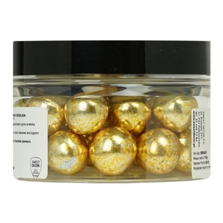 150g ZŁOTE METALIZOWANE kule z ciemnej czekolady z całym ORZECHEM LASKOWYM 5050601 Sweet Decor