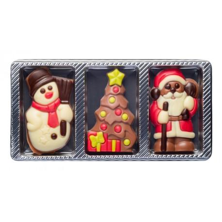 30 g Zestaw obrazków świątecznych 3 wzory z mlecznej czekolady 65499 CCW
