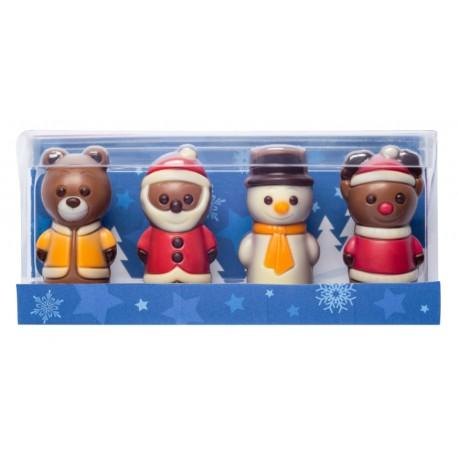 40 g Zestaw figurek bożonarodzeniowych 4 wzory z mlecznej czekolady 65647 CCW