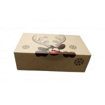 1 szt. Pudełko świąteczne brązowe z reniferem 250/150/80 Liv