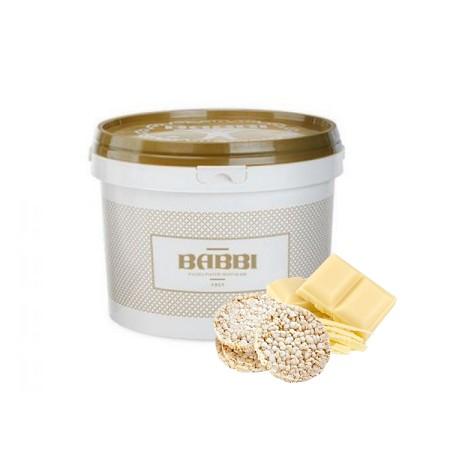 2,5kg VARIEGATO BIANCO CON RISO SOFFIATO biała czekolada z chrupkami ryżowymi 12828 BABBI