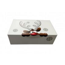 1 szt. Pudełko świąteczne duże białe z reniferem 310/220/80 Liv
