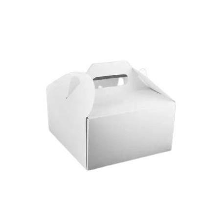 1 szt. Pudełko 180/180/100 mm na ciasto z rączką białe UNI-PACK