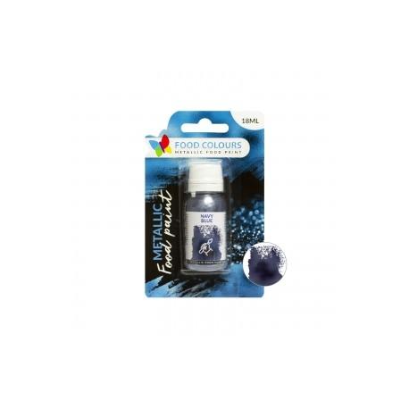 18 ml NIEBIESKA metaliczna farbka spożywcza FP-086 NAVY BLUE METALLIC FOOD PAINT Food Colours