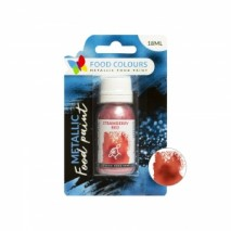 18 ml CZERWONA metaliczna farbka spożywcza FP-021 STRAWBERRY RED METALLIC FOOD PAINT Food Colours
