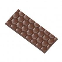 2454CW FORMA PLASTRY MIODU CHOCOLATE WORLD forma z poliwęglanu do tabliczek czekolady z wzorem plastra miodu